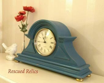 Mantel Clock painted in Annie Sloan Chalk Paint in Aubusson, lightly distressed and clear waxed