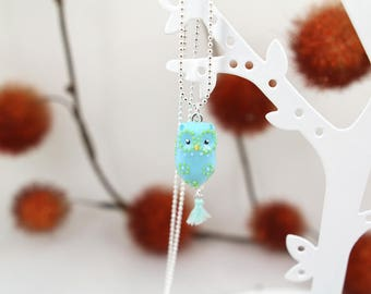 My little flower cold porcelain OWL necklace
