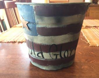 Vintage Patriotic Tin Pail