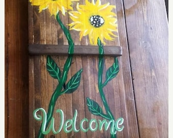 SALE Large SUNFLOWER Welcome Pretty Flower Art Painted On Reclaimed Wood Plank Painting Scott D Van Osdol Garden Porch Home Wall Decor 14x37