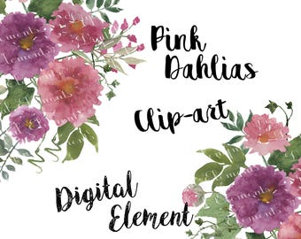Digital Clipart, Watercolor Clipart, Pink Dahlia Clipart, Watercolor Purple Floral Clipart. NO. WC54