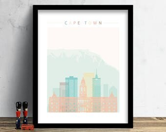 Cape Town Skyline Print, Watercolor Print, South Africa Cityscape, Wall Art, Watercolor Art, City Poster, Cityscape, Home Decor Gift PRINT