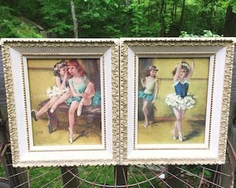 Vintage Ballerina Prints - Framed Art by Cydney Grossman