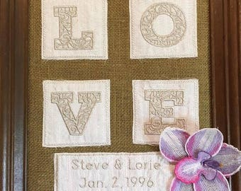 Embroidery 3D love/flower for a memory or wedding,