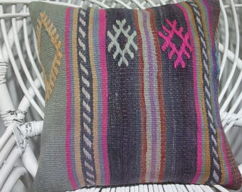 Handmade Kilim Pillow Multicolour Kilim Pillow Natural Pillow 16x16 kelim kissen 16x16 bohemian throw pillow 16x16 kilim pillow 3766