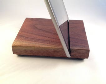 Wood iPad Pro / iPad stand, Walnut, with anti-skid surface feet - J