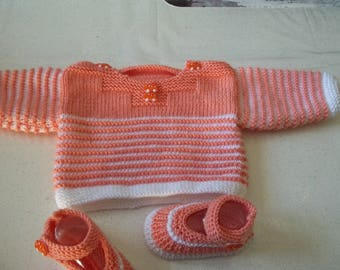 sailor and booties - handmade knit baby 1 month-