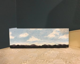Rolling Mountain Landscape Acrylic on 12x4 Stretched Canvas - Original & Handmade