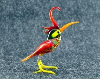 Glass Bird.Art Murano Glass Bird.Great Bird Gift.Glass Birds.Fused Glass.Bird Ornament.Lampwork Glass Bird.Glass Bird Decor(l16)