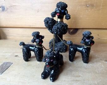 Rare Black Spaghetti Poodles Blue Rhinestone Eyes 3 Puppies on Chains Kreiss Japan 1950s