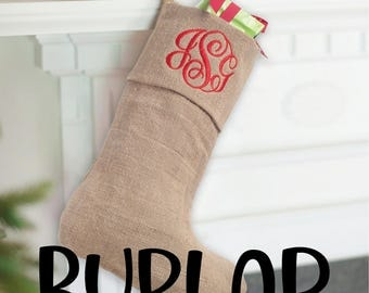 Monogrammed Christmas Stockings/Embroidered Stockings/ Christmas Decor