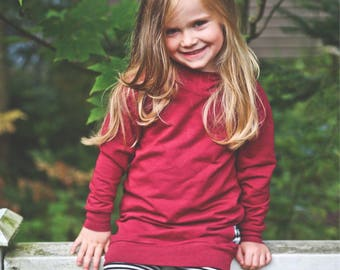 For baby and toddler hooded tunic, french Terry (bamboo/Cotton/spandex) Burgundy
