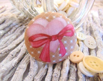 1 fabric button x 22mm heart bow pink and Brown BOUT2