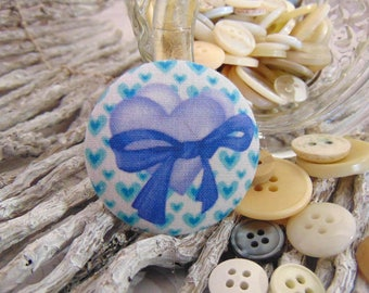 x 1 cabochon 22mm knot BOUT1 heart fabric
