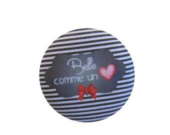 x 28mm beautiful fabric like a heart ref BOUT20 1 button