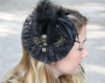 Fascinator of Black Lace, feathers, dragonfly, steampunk gears