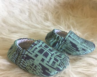Baby Moccs: Art Deco Soft Sole Baby Toddler Shoes - Aqua on Navy - New York Art Deco - Crib Shoes - Moccs - Exclusive Design