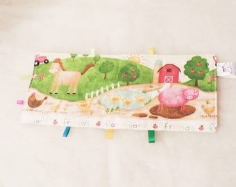 Taggy in fabric on the farm theme