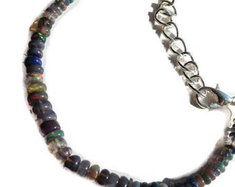 genuine opal bracelet, ethiopian black fire opals with silver oval link extension chain, SHIPS WORLDWIDE, free postage, birthstone jewelry