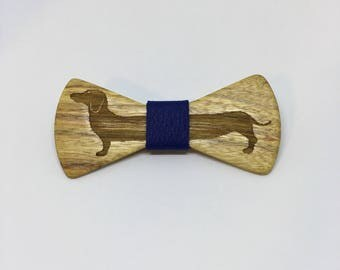 Canary Bow tie with full dachshund - wooden bow tie -wood bowtie - dachshund -5th Anniversary -groomsmen gift-gifts for him -kids bowtie