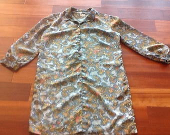 1960's CHARLOTTA of California by GLAZIER Blue Paisley Dress