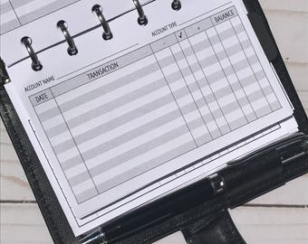 Check/Bank Account Register for Pocket Size Planner - Filofax