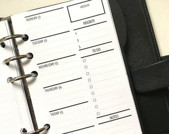2WO2P - Two Weeks On Two Pages With/Lists | Dated | Printed Planner Inserts | Personal Size
