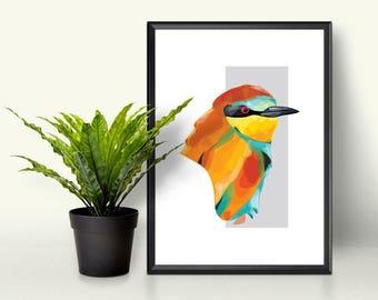 European Bee Eater Print, Illustration, Small Art Print