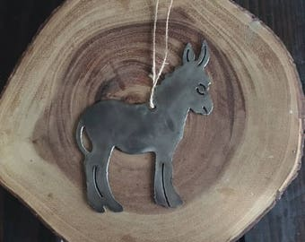 Rustic Recycled Steel Metal Donkey Ornament Holiday Gift