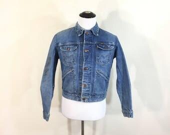 70's vintage maverick distressed denim jean jacket blue bell size 42