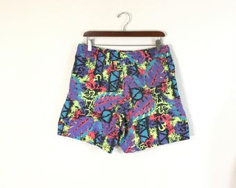 80's vintage all over print cotton shorts pants size 31-33