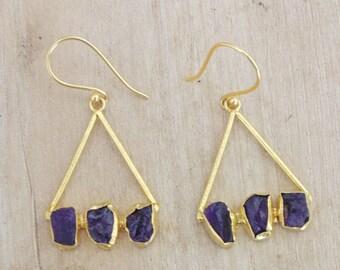 Raw Amethyst Earrings - Gold Vermeil Earrings - Bridesmaids Earrings - Gold Vermeil Earrings - Triangle Earrings - Boxing Day Gift