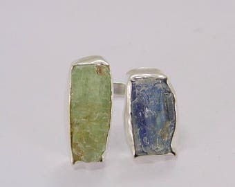 Rough Stone Ring - Blue Kyanite Ring - Gemstone Ring - Handmade Brass Ring - Adjustable Ring - Green Kyanite Ring - Gift Ideas For Her