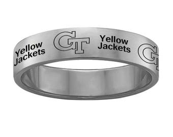 Georgia Tech Yellow Jackets Ring | Stainless Steel | 6mm And 8mm Width |  Officially Licensed