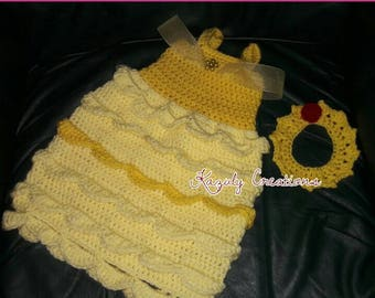 Beauty princess crochet photo prop , belle crochet dress , dress and crown baby outfit , newborn photo prop , yellow and red girl prop