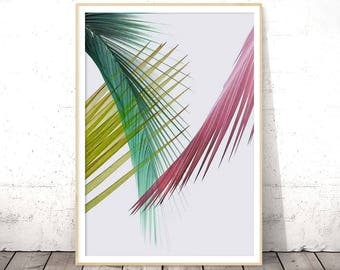 Palm Leaf Art Print, Printable Palm Leaf, Palm Leaves Print, Palm Leaf Wall Art, Tropical Wall Print, Digital Poster Tropical, Palm Leaf