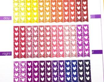 Glitter - heart check list Sticker - warm   Planner Stickers, Functional sticker, check list sticker, glitter quarter check list sticker