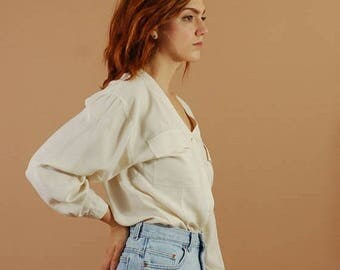 SUMMER SOLSTICE SALE: Vintage white silk pocket blouse / V neck ivory silk shirt / 90s silk button up / Minimalist silk tunic top /Perfect l