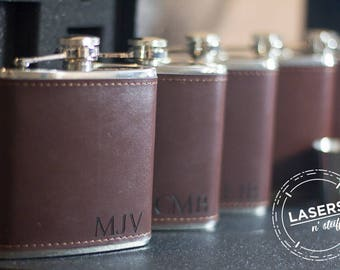 Personalized Leather Groomsmen Flask Wedding Party Gift Monogrammed Hip Flask Initials Engraved Groomsman Gift