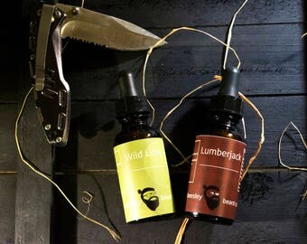 Dual Collection - Wild Lime & Lumberjack Beard Oil 1oz each - Beard Moisturizer, Beard Conditioner, Beard Care