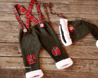 Christmas Set for boy 6-9 m, newborn props,Christmas Set,color khaki, Baby Photography, photo props,Christmas baby boy pants,RTS