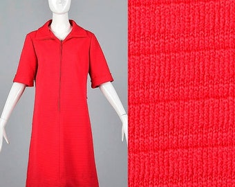 SALE Large Zip Front Knit Shift Vintage 1970s 70s Textured Ribbed Short Sleeves Convertible Collar Cherry Red