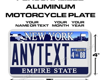"""New York Blue Skyline Any Text Your Text Custom Personalized State Motorcycle Novelty Vanity License Plate Gift Dad 4""""x7"""""""