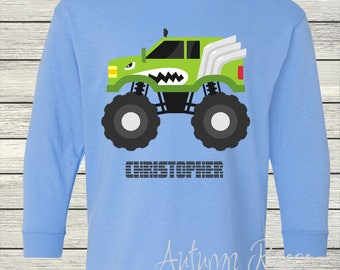 Toddler Boys Monster Truck Monogrammed Personalized Customized Birthday Shirt