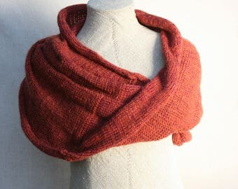 Chunky scarf | warm mohair shawl | brown knit infinity scarf | Knit circle scarf | mohair knit infinity scarf | Ready to ship gift - Paprika
