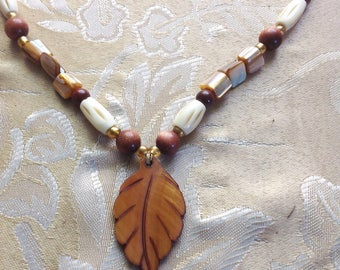 Beaded Shell Leaf Necklace Toggle Clasp Browns 18 Inches Vintage