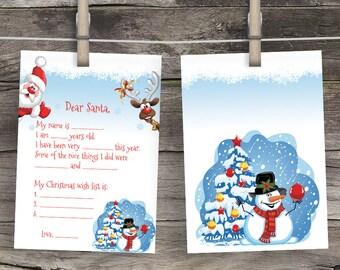 Dear Santa Letter Christmas Wishlist Santa Claus Rudolf Reindeer Snowman North Pole Letter Painted Christmas Wish List to Santa Nice list