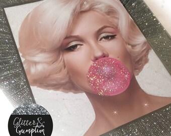 Bubble Gum Marilyn Monroe diamond dust glitter frame