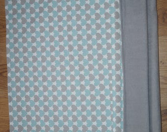 Handmade cot bed unisex baby blanket mint / pink grey hearts  READY TO SHIP