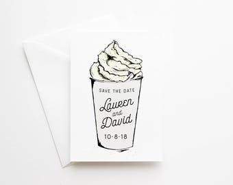 Printed Save the Date Cards - Coffee Addict - Coffee Lover - Latte Save-The-Date - Premium Quality Cards - White Coffee Cup Card - No Photo